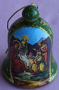 M118 Nativity Icon Wooden Bell Christmas Ornament