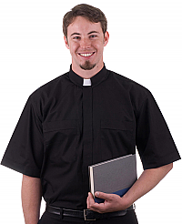 #4000 Black SS Clergy Shirt